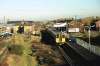 View north over Ormskirk station in 1991 with a Liverpool emu service standing at the platform.<br><br>[John McIntyre&nbsp;//1991]
