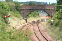 View north towards Stanley Junction and the start of the single line section on 12 July 2007. The signal box stands just beyond the bridge.<br><br>[John Furnevel&nbsp;12/07/2007]
