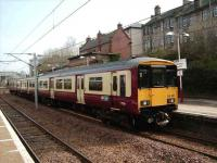 A Dalmuir service stands at Hamilton Central on 26 March.<br><br>[David Panton&nbsp;26/03/2007]