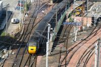 A southbound HST leaves Waverley platform 7 on 15 July 2007, passing the locomotive bays where work continues, although the 2 previously trapped sleeper locomotives have now been released. [See image 15750]<br><br>[John Furnevel&nbsp;15/07/2007]