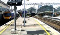 View north over the platforms at Piccadilly on 22 May. A 185 is pulling into platform 14 with a Manchester Airport - Windermere service as trains for Sheffield and Euston await departure.<br><br>[John McIntyre&nbsp;22/05/2007]