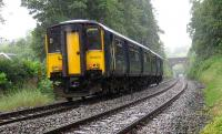 Clitheroe train near Wilpshire on the Blackburn - Hellifield line on 30 June in heavy rain.<br><br>[John McIntyre&nbsp;30/06/2007]