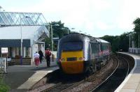 GNER 43306. <i>Fountains Abbey</i> at the rear of the 1639 express from Kirkcaldy leaves quietly and without smoke for Kings Cross. (New MTU engines). Apt name for a monastery?<br><br>[Brian Forbes&nbsp;17/07/2007]