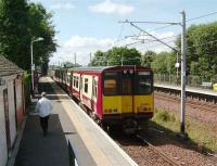 Gourock service departing from Hillington East on 17 July. <br><br>[David Panton&nbsp;17/07/2007]