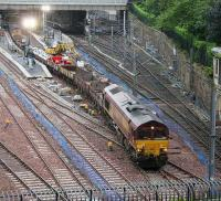 A pair of class 66s preparing to take a works train out of platform 13 early on the morning of 20 July 2007.<br><br>[John Furnevel&nbsp;20/07/2007]