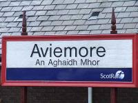 The station nameboard on Platform 1 at Aviemore, July 2007.<br><br>[Graham Morgan&nbsp;06/07/2007]