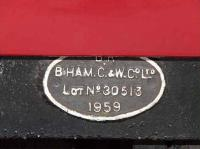 Manufacturers plate on the first class carriage standing at Platform 3 on the Strathspey Railway<br><br>[Graham Morgan&nbsp;06/07/2007]