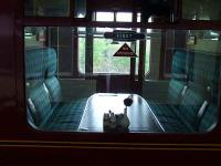 Interior of one of the first class compartments on a car standing at Platform 3 on the Strathspey Railway<br><br>[Graham Morgan&nbsp;06/07/2007]