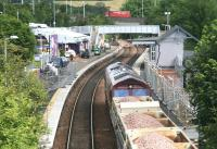 The next load of ballast arrives at Inverkeithing on 24 July. View north over the station towards Inverkeithing Central Junction.<br><br>[John Furnevel&nbsp;24/07/2007]