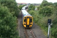 Eastbound 158 about to pass the signal protecting Inverkeithing East Junction on 24 July 2007.<br><br>[John Furnevel&nbsp;24/07/2007]