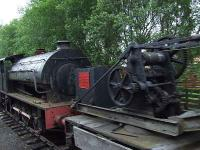 0-6-0 tank engine and recovery crane at the shed at Aviemore<br><br>[Graham Morgan&nbsp;06/07/2007]