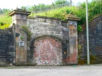 The bricked up passenger access tunnel that once led to the platforms of Upper Greenock station (closed 1967) photographed on 29 July 2007. A sealed entrance that would probably have made Howard Carter himself curious. <br><br>[John Furnevel&nbsp;29/07/2007]