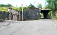 At the top of Lynedoch Street stood the island platform station of Upper Greenock, closed in June 1967. View south on 29 July with the former entrance on the left.<br><br>[John Furnevel&nbsp;29/07/2007]