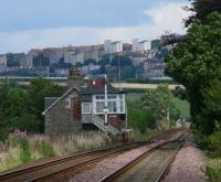 View east from Templehall to Longforgan crossing and station house.<BR/>The western outskirts of Dundee are seen behind the subject.<br><br>[Brian Forbes&nbsp;02/08/2007]