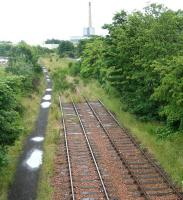 After WW1 Methil Docks became Scotlands chief coal port, exporting over 3m tons in 1923. The former lines to the docks are shown on 26 July 2007 looking east towards the now defunct Methil power station. <br><br>[John Furnevel&nbsp;26/07/2007]