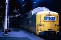 Deltic D9005 about to take an ECML express out of Waverley in 1969.<br><br>[John McIntyre&nbsp;//1969]