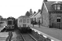 A Class 101 DMU at Boat of Garten on 7 April 1973 with the first passenger train to visit the station since official closure. <br><br>[John McIntyre&nbsp;07/04/1973]