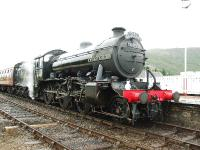 61994 arrives at Aviemore, by this time the rain had eased to a downpour.<br><br>[John Gray&nbsp;18/08/2007]