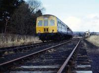 Class 101 DMU approaching Boat of Garten in April 1973.<br><br>[John McIntyre&nbsp;7/04/1973]