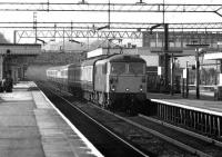 Class 87 hauled express on the up fast through Watford Junction on 20 March 1976.<br><br>[John McIntyre&nbsp;20/03/1976]