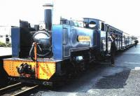 No 7 <I>Owain Glyndwr</I> at Aberystwyth on the Vale of Rheidol line in April 1981. <br><br>[David Panton&nbsp;/04/1981]
