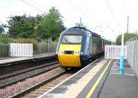 HST heads south on the ECML through Chathill on 16 August. Behind the fence on the right was a bay platform serving the North Sunderland Light Railway running to Seahouses on the coast. <br><br>[John Furnevel&nbsp;16/08/2007]