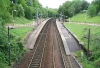 View east over a leafy Dumbreck station on 20 May 2007. The only double-track station on the Paisley Canal branch. The catenary runs as far as Corkerhill depot. [Additional: The Canal branch was electrified throughout in November 2012]<br><br>[John Furnevel&nbsp;20/5/2007]