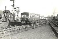 A Railbus approaching Ayr station on a trial run in March 1959.<br><br>[G H Robin collection by courtesy of the Mitchell Library, Glasgow&nbsp;30/03/1959]