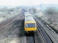 On a frosty morning in January 1989, a Glasgow - Falkirk class 101 DMU heads north over the former double lead junction.<br><br>[Brian Forbes&nbsp;15/01/1989]