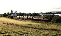 Oil train running east from Connel Ferry with the Ballachulish Branch viaduct in the background left.<br><br>[Ewan Crawford&nbsp;//1989]