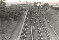 Kirriemuir Junction. Looking West.<br><br>[G H Robin collection by courtesy of the Mitchell Library, Glasgow&nbsp;20/07/1953]