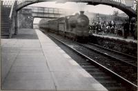 NB 0.6.0 64562 entering Blantyre (CR) on Springburn S.S. excursion. Note pipe band.<br><br>[G H Robin collection by courtesy of the Mitchell Library, Glasgow&nbsp;04/06/1949]