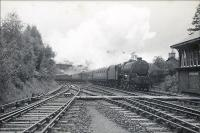 Glasgow - Oban trains at Balquhidder. 5P 4.6.0 45481 arriving on stopping train.<br><br>[G H Robin collection by courtesy of the Mitchell Library, Glasgow&nbsp;26/08/1950]