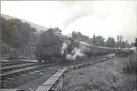 Glasgow - Oban trains at Balquhidder. 5P 4.6.0 45499 leaving on express.<br><br>[G H Robin collection by courtesy of the Mitchell Library, Glasgow&nbsp;26/08/1950]
