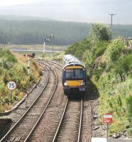 ScotRail 170429 northbound coming out of the sun about to run through Dalwhinnie station on 25 August 2007. [See image 36021]<br><br>[John Furnevel&nbsp;25/08/2007]