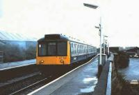 107432 in Rail Blue stands at Barrhead in October 1987.<br><br>[David Panton&nbsp;/10/1987]