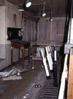 Inside Alloa West box in 1985.<br><br>[Mark Dufton&nbsp;//1985]