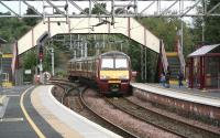 An Airdrie bound service comes off the Helensburgh line and into Dalreoch station on 9 September.<br><br>[John Furnevel&nbsp;9/9/2007]