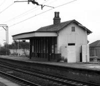 The westbound platform building at Cardross in 1972. [Note the classic, whitewashed brick, maze-like entrance to the fully air-conditioned <I>facilities</I> - Ed.]<br><br>[John McIntyre&nbsp;18/09/1972]