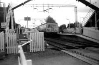 A Helensburgh Central train stands in Cardross station in July 1986.<br><br>[John McIntyre&nbsp;15/7/1986]