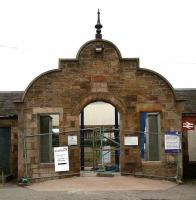 Refurbishment work underway on the entrance to Invergordon station in 2007.<br><br>[John Furnevel&nbsp;30/8/2007]