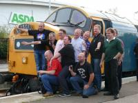 Class 40 society members beside 40145 at Elgin.<br><br>[Brian Forbes&nbsp;22/9/2007]