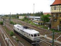 A diesel loco in a non standard livery in the Berlin suburbs.<br><br>[Michael Gibb&nbsp;08/09/2007]