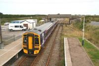 View east from the footbridge at Georgemas Junction on 28 August with an afternoon train preparing to leave for the south.<br><br>[John Furnevel&nbsp;/8/2007]