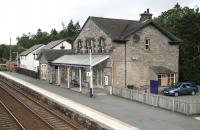 View north from the footbridge at Blair Atholl on 26 August. Note the continuing encroachment of modern housing from the north - also the outline on the station wall showing the position of the former south wing of the building. <br><br>[John Furnevel&nbsp;26/08/2007]