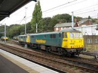 Two Class 86/6 locomotives run into the refuelling sidings at Ipswich in September 2007, with various class 66 examples standing in the background.<br><br>[Michael Gibb&nbsp;29/09/2007]