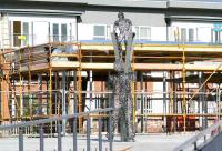 The Andy Scott sculpture <I>Looking to the Future</I> in front of the new Alloa station building on 4 October. <br><br>[John Furnevel&nbsp;4/10/2007]