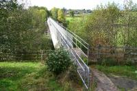 Not as precarious as it might look! View west over the former Drymen Viaduct on 11 October showing the walkway atop the water supply pipeline that has replaced the deck.<br><br>[John Furnevel&nbsp;11/10/2007]