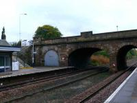 Cupar station looking south east with a blocked off arch. Was there a dock platform here at any time?<br><br>[Brian Forbes&nbsp;../10/2007]