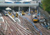 Scene at the west end on 12 October 2007. Track has now been relaid through northside platforms 10 & 11 although, as can be seen here, all 4 through platforms on the southside continue to be occupied by the engineer.<br><br>[John Furnevel&nbsp;12/10/2007]